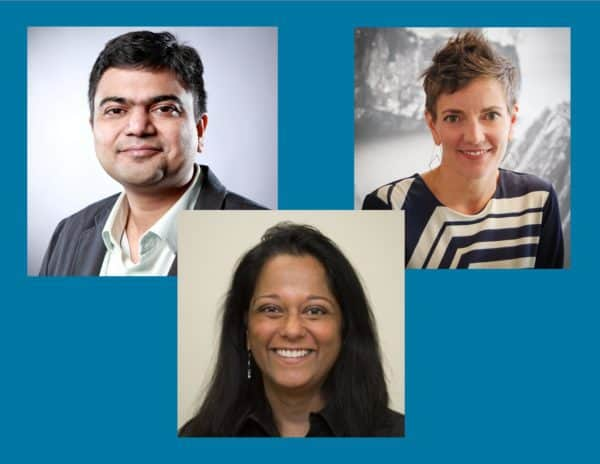 Headshot collage of Amit Lodha (top left), Subha Luck (center foreground), and Leandre Waldo (top right)